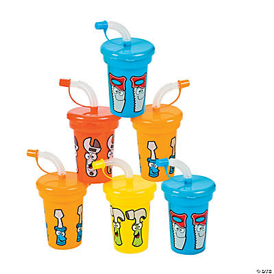 12 Molded Tool Party Cups with Lids & Straws