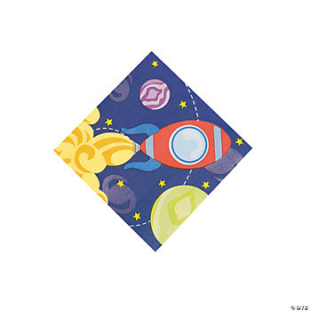 1st Birthday Rocket Party Beverage Napkins