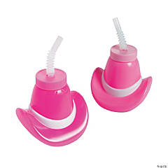 Plastic Molded Pink Cowgirl Hat Cups with Lids & Straws