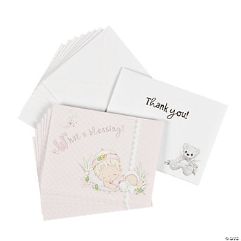 "Baby Girl Precious Moments® Baby Shower ""Thank You"" Notes"