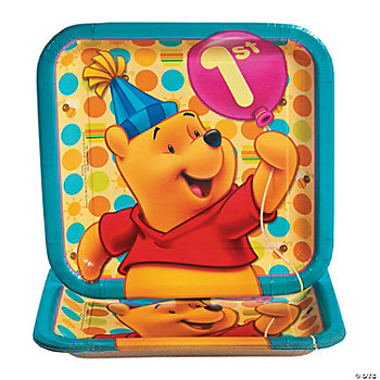 Pooh's 1st Birthday Square Dinner Plates