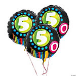 """50th"" Birthday Mylar Balloon Set"