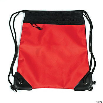 Mesh Drawstring Backpack Bags - Red