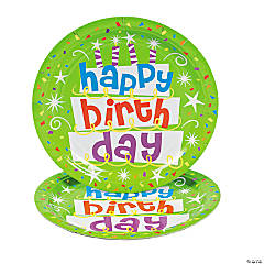 Paper Green Happy Birthday Dinner Plates