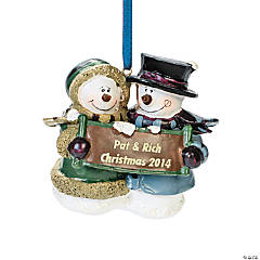 Snow Couple Personalized Christmas Ornament