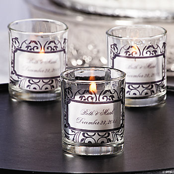Personalized Black & White Votive Candleholders