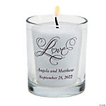 "Personalized ""Love"" Wedding Votive Holders"