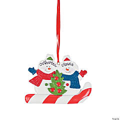 Personalized Snowmen Christmas Ornament  - Two Snowmen
