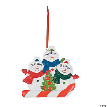 Personalized Snowmen Ornament - Three Snowmen