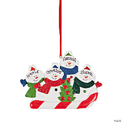 Personalized Snowmen Ornament - Four Snowmen