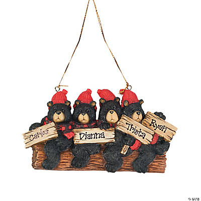 Personalized Christmas Ornament - Four Black Bears