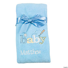 Personalized Blue Baby Blanket