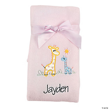 Personalized Pink Giraffe Blanket