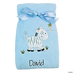 Personalized Blue Zebra Blanket