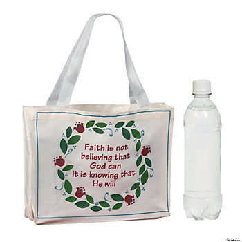 """Faith Is Knowing That He Will"" Tote Bags"