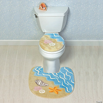 Seashell Toilet Lid Cover & Rug