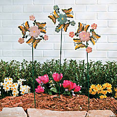 Floral Pinwheel Yard Stakes