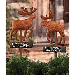"Deer & Moose ""Welcome"" Yard Stakes"