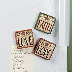 """Faith"", ""Hope"" & ""Love"" Magnets"