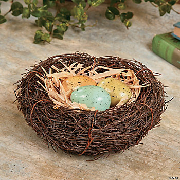 Bird's Nest with Natural-Looking Eggs