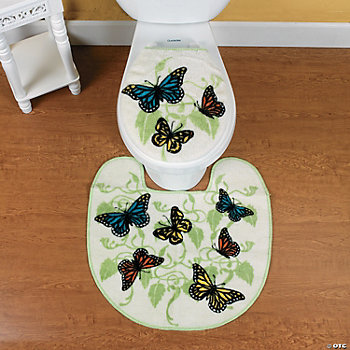 Butterfly Bathroom Contour Rug and Toilet Lid Cover