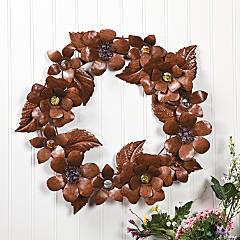 Rustic Floral Wreath with Glass Centers