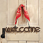 """Welcome"" Horseshoe Sign with Bandana Hanger"