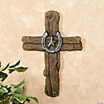 Tree Bark Cross with Horseshoe