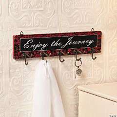 """Enjoy the Journey"" Sign with Hooks"