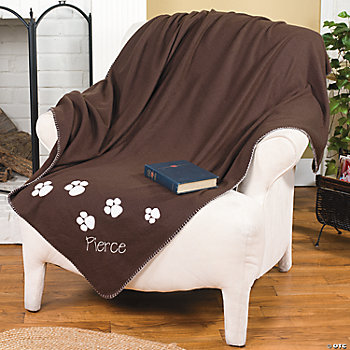 Embroidered Fleece Pet Throw