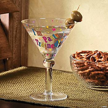 """I'm Party Trained"" Martini Glass"