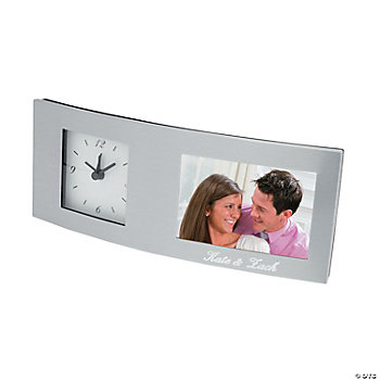Personalized Silver Clock With Frame
