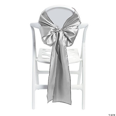 Satin Silver Chair Bows