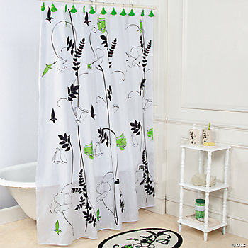 Black & White Floral Bathroom Shower Curtain