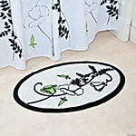 Black & White Floral Bathroom Bath Mat