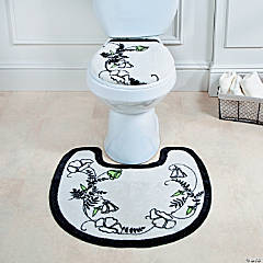 Black & White Floral Bathroom Toilet Set