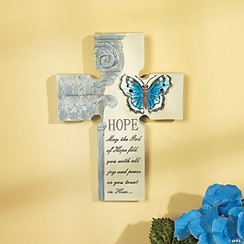 """Hope"" Cross with Butterfly"