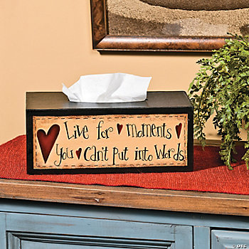"""Live for Moments"" Tissue Box Cover"