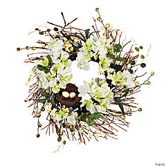 Polyester White Floral Wreath