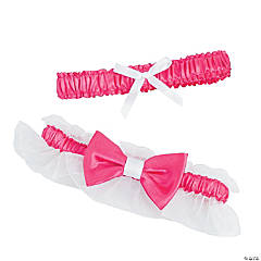 White & Pink Wedding Garter Set