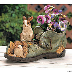 Shoe-Shaped Planter with Bunnies