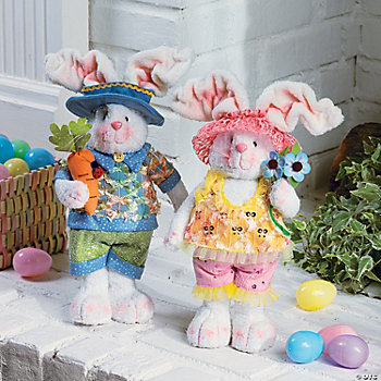 Standing Plush Bunny Couple