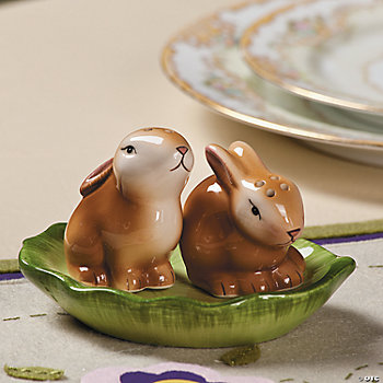 Bunny Salt & Pepper Shakers On Leaf