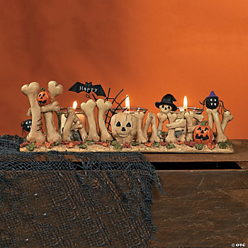 """Happy Halloween"" Bone Votive Holder"