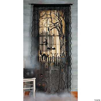 Spooky Lighted Lace Curtain Panel