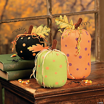 Dotted Plush Pumpkins