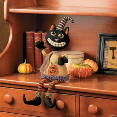 Plush Sitting Black Cat