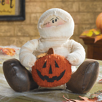 Plush Sitting Mummy with Pumpkin