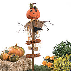 """Trick or Treat"" Pumpkin Yard Stake"