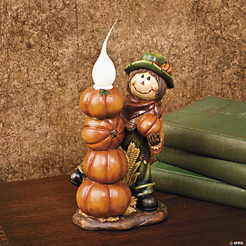 Scarecrow with Stacked Pumpkins Lamp